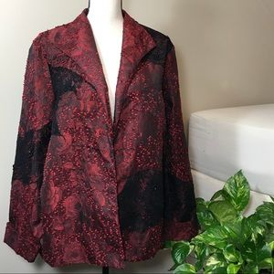 2X Red and Black Blazer Jacket Dress Coat